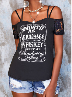 Lace Print Letter Cold Shoulder Short Sleeves Casual Blouses
