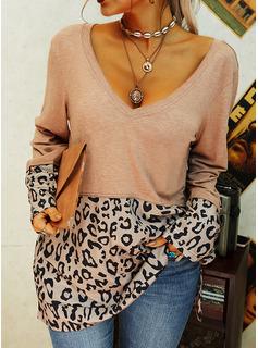 leopardo Scollatura a V Maniche lunghe Casuale Camicie