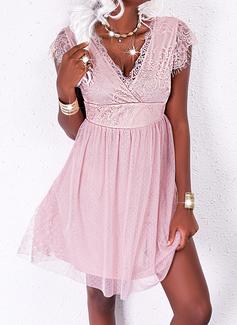 Solid A-line Short Sleeves Mini Party Elegant Skater Dresses