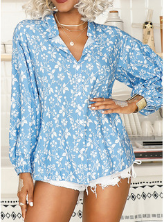 Floreale Stampa Scollatura a V Maniche lunghe Bottone Casuale Shirt and Blouses