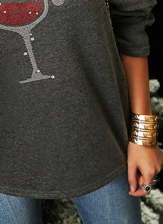 Print Sequins Long Sleeves Christmas Sweatshirt