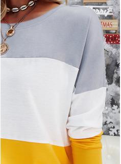Farbblock Rundhalsausschnitt Lange Ärmel Lässige Kleidung T-shirt