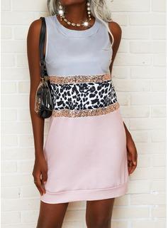 Leopardo Trozos de color Impresión Vestidos sueltos Sin mangas Mini Elegante Vestidos de moda