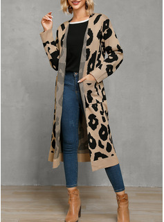 Fritids Lång Leopard Tröjor