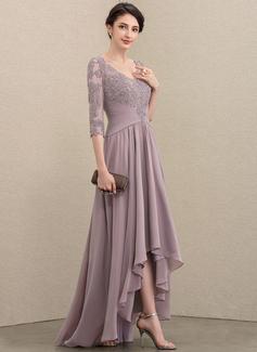 Corte A Decote V Assimétrico Tecido de seda Renda Vestido para a mãe da noiva com lantejoulas