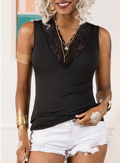 Lace Solid V-Neck Sleeveless Casual Tank Tops