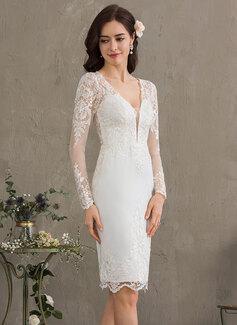 Forme Fourreau Col V Longueur genou Crêpe Stretch Robe de mariée