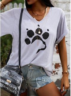 Animal Print V-Neck Short Sleeves Casual T-shirt
