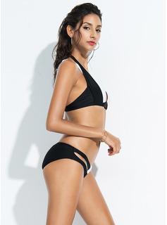 Bikinis Poliester Spandex Niski stan Cośpozszywanegozkawałków Dla kobiet tak Stroje kąpielowe