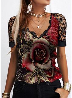 Floral Impresión Cuello en V Manga Corta Casual Blusas