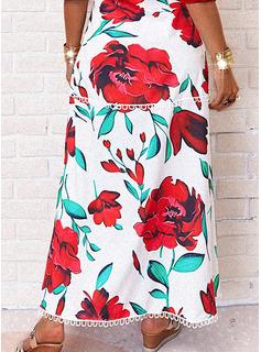 Floral Impresión Vestido línea A Manga Corta Maxi Casual Vacaciones Patinador Vestidos de moda