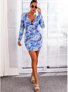 印刷 ボディコンドレス 長袖 ミニ セクシー ファッションドレス