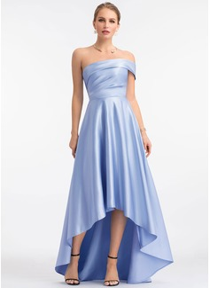 A-Line One-Shoulder Asymmetrical Satin Evening Dress
