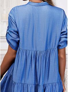 Sólido Vestidos sueltos Mangas 1/2 Mini Casual Camisa Vestidos de moda