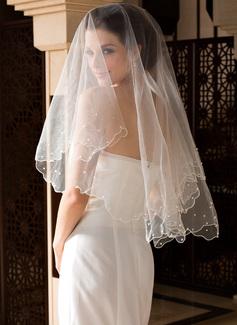1 couche Voiles de mariée valse avec Bord orné de perle/Bord festonné