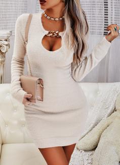 Einfarbig Figurbetont Lange Ärmel Mini Lässige Kleidung Modekleider