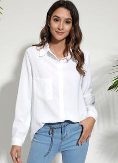 Solid Lange ærmer Bomuldsblanding Polyester V-hals Shirt Skjorter Bluser