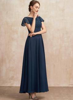 Aライン スクープネック くるぶし丈 シフォン レース ミセスドレス とともに スパンコール