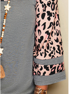 Leopardo Cuello Redondo Mangas 3/4 Casual Blusas