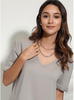 Einfarbig Kurze Ärmel Polyester V-Ausschnitt T-shirt Blusen