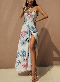 Kwiatowy Nadruk Sukienka Trapezowa Bez Rękawów Maxi Seksowny Wakacyjna Rodzaj Modne Suknie