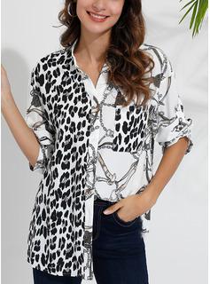 Leopard Patchwork Lapel Lange ærmer Button-up Casual Shirt Skjorter
