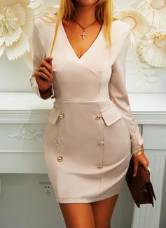 Solid Bodycon Long Sleeves Mini Casual Elegant Dresses