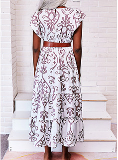 Print A-line Short Sleeves Maxi Boho Casual Vacation Skater Dresses