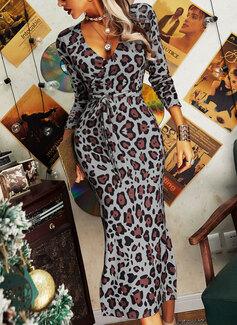 Leopard Bodycon Long Sleeves Midi Elegant Pencil Dresses