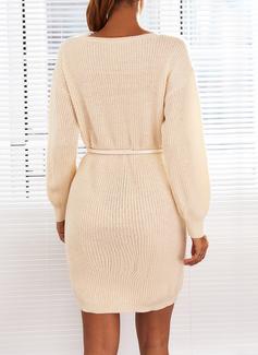 Sólido Manga Larga Casual Vestido de Suéter Vestidos de moda