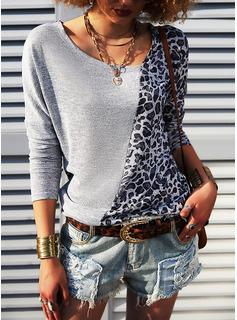 Leopard Patchwork V-hals Lange ærmer Casual Skjorter