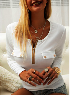 Solid Round Neck Long Sleeves Basic Casual Blouses