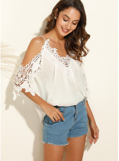 Lace Solid 3/4 Sleeves Polyester Cold Shoulder Blouses