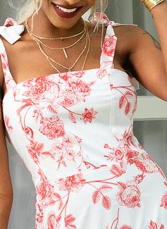 Květiny Tisk Do tvaru A Bezrukávů Maxi Neformální Dovolená Skaterové Módní šaty