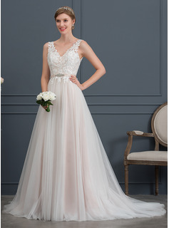 A-Line V-neck Court Train Tulle Wedding Dress With Beading