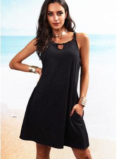 Solid Shift Sleeveless Mini Little Black Casual Tank Dresses