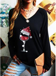 Print V-hals Lange ærmer Jul T-shirt