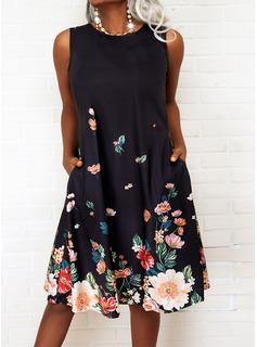 Floral Impresión Vestidos sueltos Sin mangas Midi Casual Franelilla Vestidos de moda