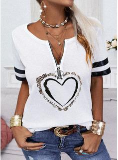 Impresión Corazón Cuello en V Manga Corta Casual Blusas