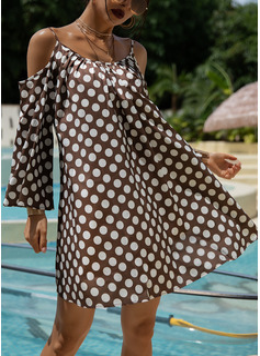 PolkaDot Shift 3/4 Sleeves Mini Casual Tunic Dresses