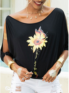Print Sunflower Print 1/2 Sleeves Polyester Cold Shoulder T-shirt Blouses
