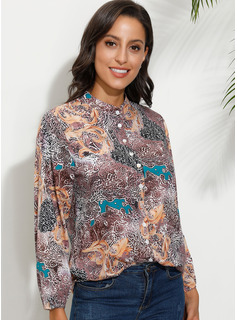 Stampa Girocollo Maniche lunghe Bottone Casuale Shirt and Blouses