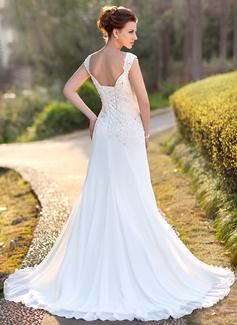A-linjeformat V-ringning Court släp Chiffong Bröllopsklänning med Spets Beading Paljetter