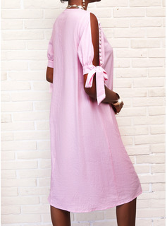 Sólido Con cuentas Vestidos sueltos Manga Corta Midi Casual Túnica Vestidos de moda