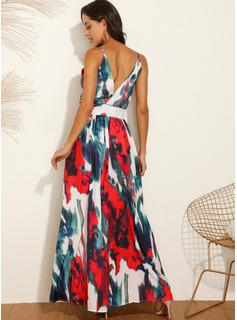 Blomster Print Kjole med A-linje Ærmeløs Maxi Party Sexet Ferie skater Typen Mode kjoler