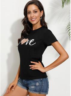 Print Korte ærmer Polyester rund hals T-shirt Bluser