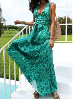 Imprimeu Bir Çizgi Kolsuz Maxi gündelik Tatil Patenci Moda Elbiseler