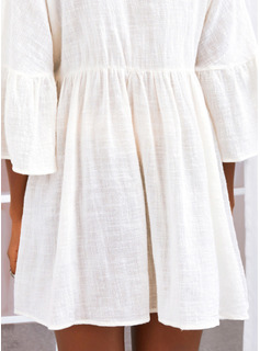 Solid Skiftekjoler 3/4 ærmer Flare-ærmer Mini Casual Tunika Mode kjoler