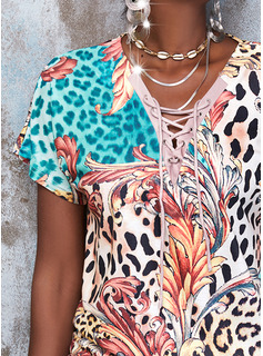 Leopardo Impresión Cordones Cuello en V Manga Corta Casual Blusas