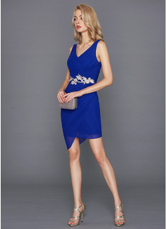 Sheath/Column V-neck Short/Mini Chiffon Cocktail Dress With Lace Beading Sequins